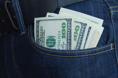 Hundred-dollar notes in a pocket Royalty Free Stock Photos