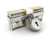 Hundred dollar pack locked by safety padlock. Business finance security concept 3d render illustration Stock Image