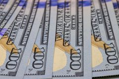 Hundred dollar perspective. Cash money closeup photo. Currency background. Stock Photography