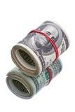 Hundred dollar roll  on white Stock Photo