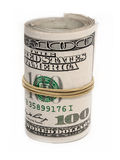 Hundred dollar rolled up Royalty Free Stock Images
