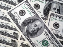 Hundred dollars. Hundreds American dollars. Finance and objects stock photo