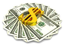Hundred dollars. Very beautiful three-dimensional illustration, figure. Hundred dollars. 3d stock illustration