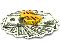 Hundred dollars. Very beautiful three-dimensional illustration, figure.Hundred dollars. 3d Stock Photography