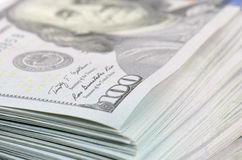 Hundred dollars bank notes background Stock Image