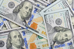 Hundred dollars bank notes background Stock Images