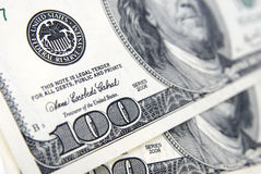 The hundred dollars banknote. Close up symbol Stock Photos