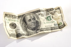 The hundred dollars banknote. Crumpled close up Royalty Free Stock Photo