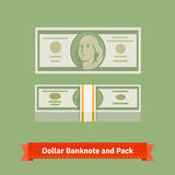 Hundred dollars banknote and money pack with strap. Flat style vector icons Stock Photography