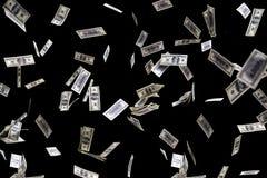 Hundred dollars banknotes fly on black background. money rain concept. One hundred dollars banknotes isolated fly on black background. money rain concept Stock Images