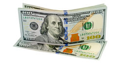 Hundred dollars. Banknotes of hundred dollars on a white background Stock Photos