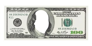 A hundred dollars bill with no face, clipping path Stock Photography