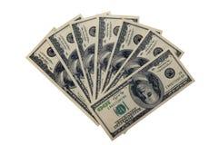 Hundred dollars bills. Photo of hundred dollars bills isolated over white background Stock Photography