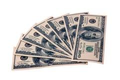 Hundred dollars bills. Photo of hundred dollars bills isolated over white background Stock Images