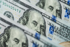 Hundred dollars bills standing in a row Royalty Free Stock Image