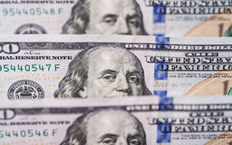 Hundred dollars bills standing in a row Stock Photography