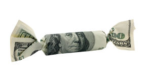 Hundred dollars candy with clipping path Royalty Free Stock Images