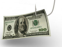 Hundred dollars  fishing hook Royalty Free Stock Photography