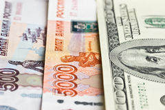 Hundred dollars, five thousand and five hundred rubles Stock Photography