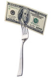 Hundred dollars on a fork Stock Photo