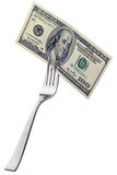 Hundred dollars on a fork Stock Images