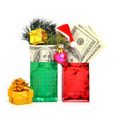 Hundred dollars gift in package with christmas hat Royalty Free Stock Photography