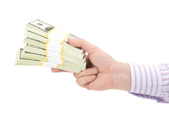 Hundred dollars in hand Royalty Free Stock Images