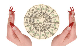 Hundred dollars in hands Royalty Free Stock Images
