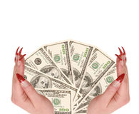 Hundred dollars in hands Stock Images