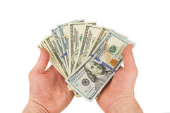 Hundred dollars in hands Stock Photography