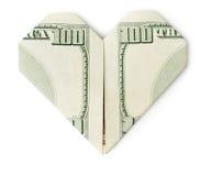 Hundred dollars heart isolated. Hundred dollars folded into heart isolated on white background. Valentine's heart Royalty Free Stock Photos
