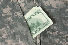 Hundred Dollars In Us Army Uniform Pocket Royalty Free Stock Photos