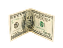Hundred dollars. Isolated on a white background Stock Images