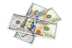 Hundred  dollars isolated on white background Stock Images