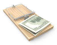 Hundred dollars in a mousetrap Stock Photos
