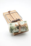 Hundred dollars in a mousetrap Royalty Free Stock Image