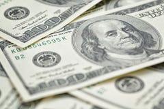 Hundred dollars notes background Stock Photo