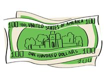 A hundred dollars object on a white background. Independence Hall vector illustration