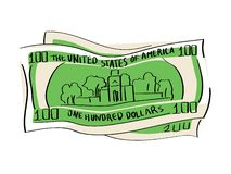 A hundred dollars object on a white background. Independence Hall stock illustration