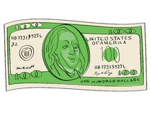 A hundred dollars object on a white background. Scientist, publicist and diplomat Benjamin Franklin. A hundred dollars object on a white background. Business and royalty free illustration