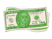 A hundred dollars pile object on a white background. Scientist, publicist and diplomat Benjamin Franklin. A hundred dollars pile object on a white background stock illustration