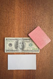 Hundred dollars and playing cards Royalty Free Stock Photo