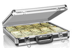 Hundred dollars in suitcase Stock Photos