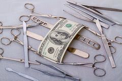 Hundred dollars and surgical instruments Royalty Free Stock Photography