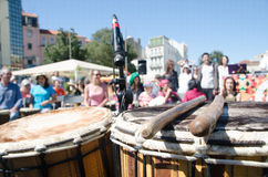 A Hundred Drums Festival on Workers Day. Street festival of one hundred drums played in the streets of Lisbon to celebrate the InternationalSmile Day and Royalty Free Stock Photos
