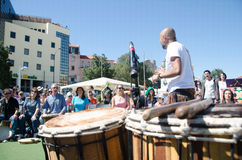 A Hundred Drums Festival on Workers Day. Street festival of one hundred drums played in the streets of Lisbon to celebrate the InternationalSmile Day and Royalty Free Stock Images