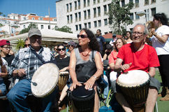 A Hundred Drums Festival on Workers Day. Street festival of one hundred drums played in the streets of Lisbon to celebrate the InternationalSmile Day and Stock Photos