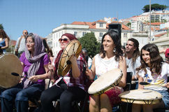 A Hundred Drums Festival on Workers Day. Street festival of one hundred drums played in the streets of Lisbon to celebrate the InternationalSmile Day and Stock Image