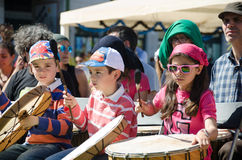 A Hundred Drums Festival on Workers Day. Street festival of one hundred drums played in the streets of Lisbon to celebrate the InternationalSmile Day and Royalty Free Stock Image
