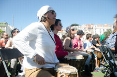 A Hundred Drums Festival on Workers Day. Street festival of one hundred drums played in the streets of Lisbon to celebrate the InternationalSmile Day and Stock Photo